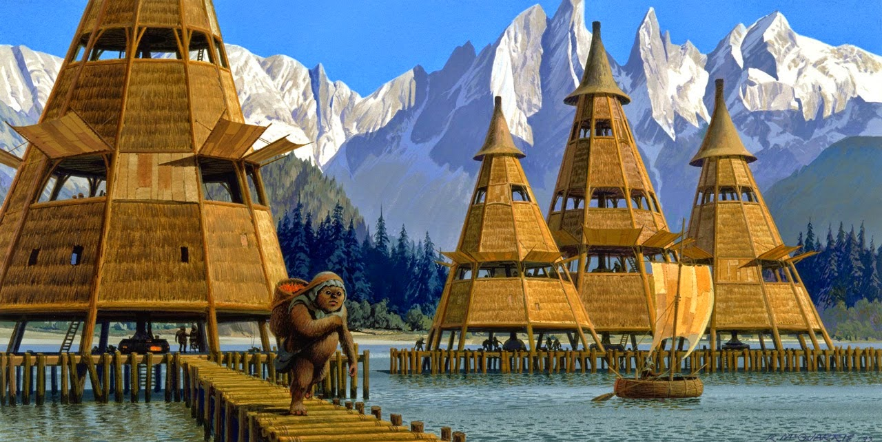 Concept Art Ewok village by the water