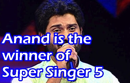 Anand is the winner of Super Singer 5 Grand finale 2016