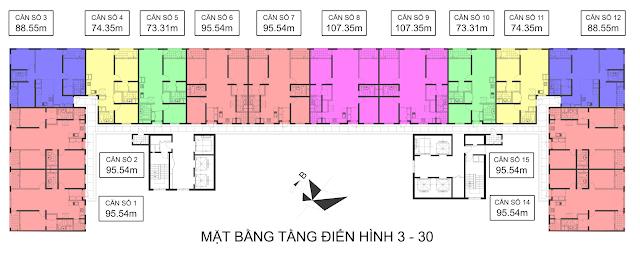Mặt bằng điển hình tòa CT7 Booyoung Vina