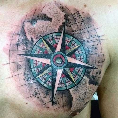 man chest compass tattoo erkek göğüs pusula dövmesi