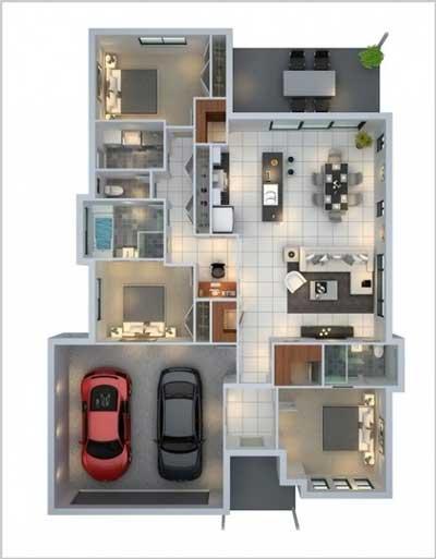 10 Ide Denah Rumah Minimalis 1 Lantai 3 Kamar Tidur Dan Garasi