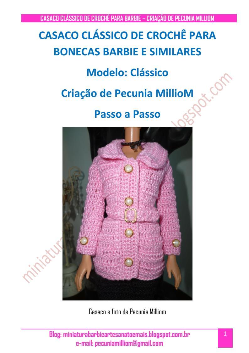 Casaco Clássico de Crochê Para Boneca Barbie Passo a Passo pag. 1