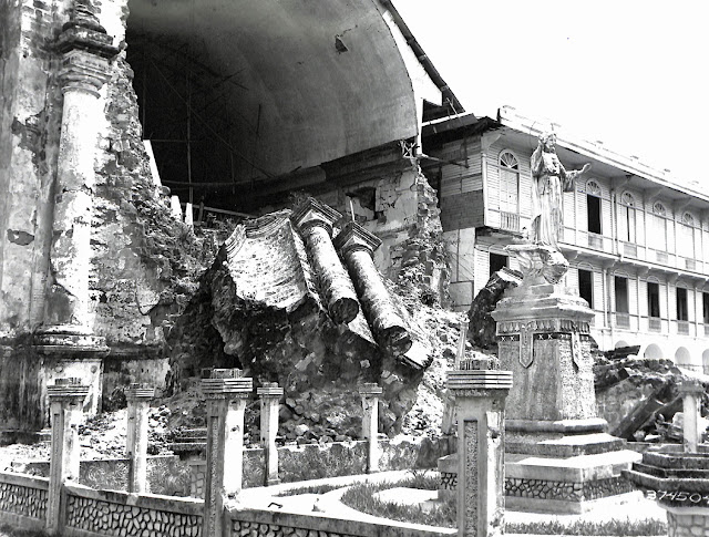 A US Army photo shows a large block of stone that fell from the church because of the 1942 earthquake.  Image source:  United States National Archives.