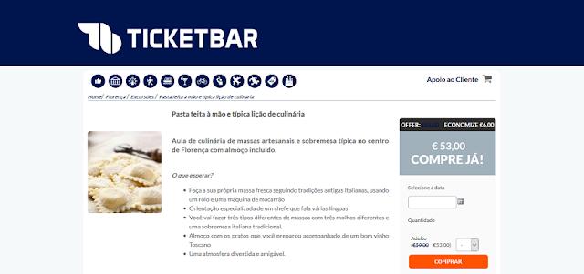 Ticketbar para ingressos para aula de culinária típica em Florença