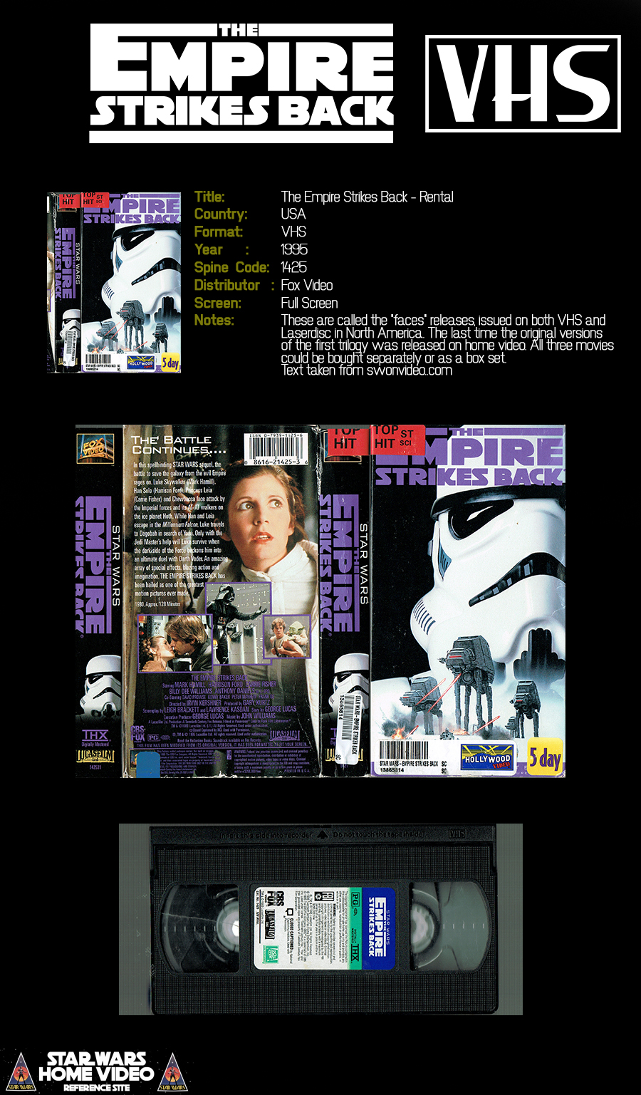 Star Wars Home Video The Empire Strikes Back Usa Vhs 1995 Rental