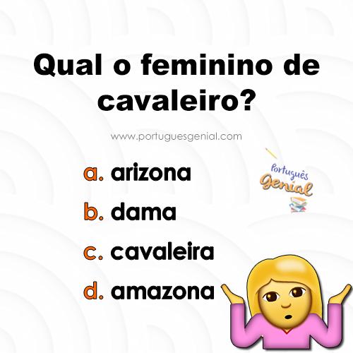 Feminino de cavaleiro - Qual é o feminino de cavaleiro?