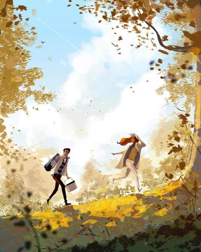 Man Creates Heartwarming Illustrations Of The Everyday Life With His Wife - Going on a hike with a picnic