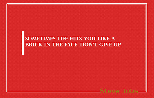 Sometimes life hits you like a brick in the face Steve Jobs Quotes