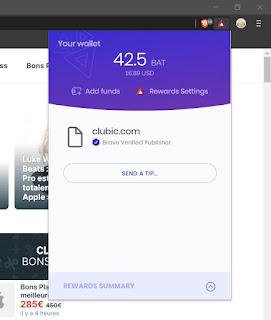 Exemple de site web compatible avec le système Brave Rewards