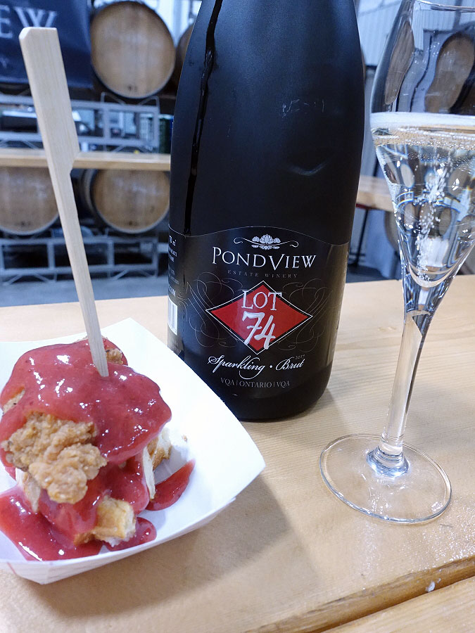 PondView Lot 74 Sparkling Brut 2017 (87 pts) with chicken & waffles