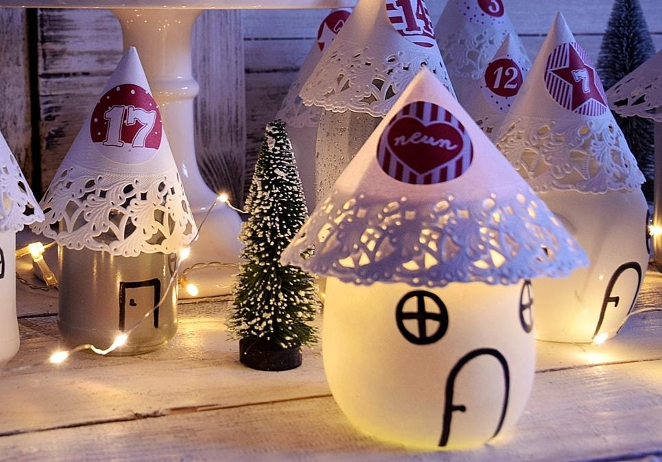 Beleuchteter Adventskalender aus Marmeladengläsern basteln