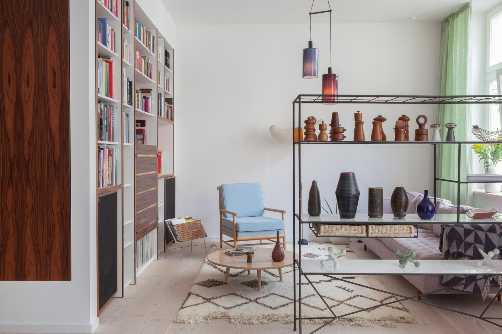 amazing designer loft in berlin with mdi century modern design, noguchi lamp, pattern carpet