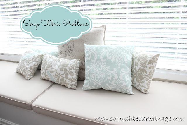 Scrap fabric pillows www.somuchbetterwithage.com