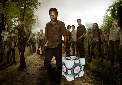 Walking Dead with Companion Cube
