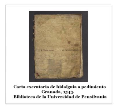 carta ejecutoria de hidalguía y prendimiento