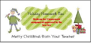 Holiday Homework Pass  Classroom Activities: Social ...
