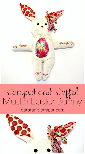 Stamped and Stuffed Muslin Easter Bunny Tutorial by Dana Tatar for Paper Wings Productions
