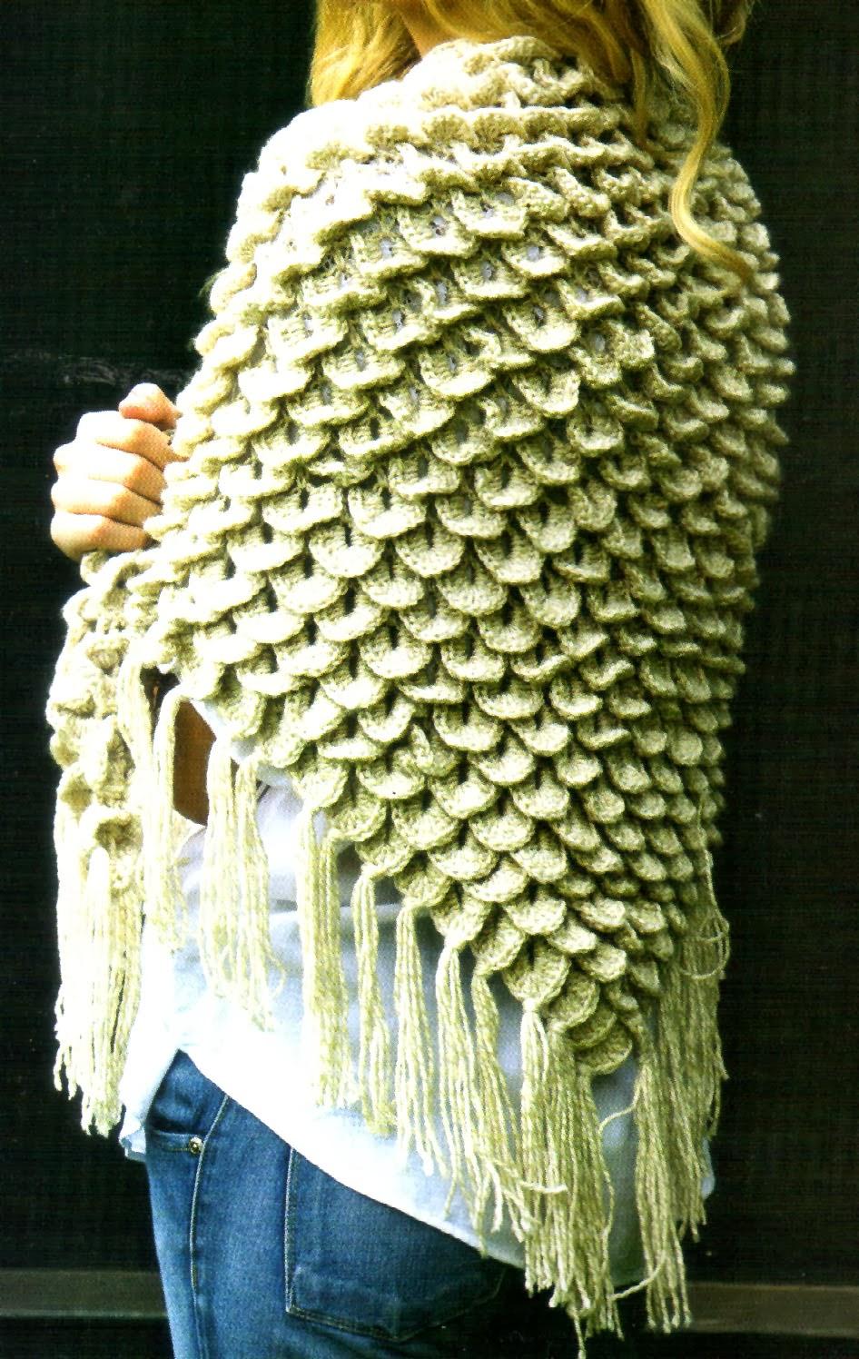 tejidos artesanales en crochet chal en escamas tejido en crochet. Black Bedroom Furniture Sets. Home Design Ideas