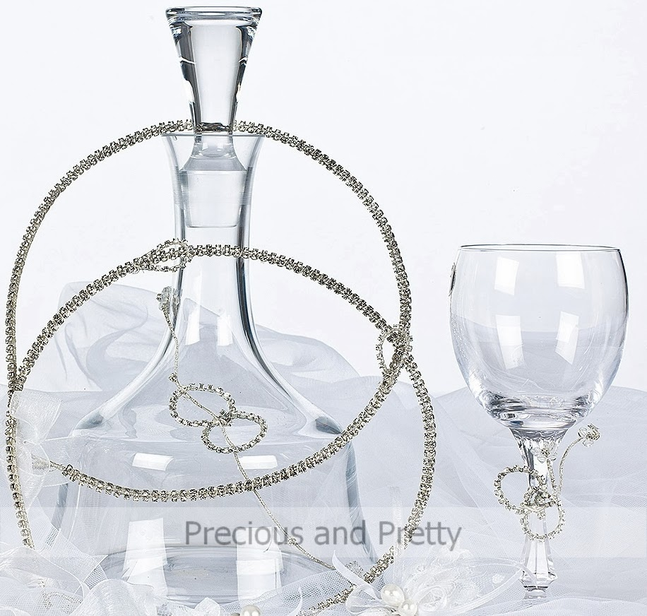 Rhinestone Greek stefana and decanter set for wine