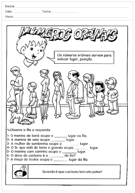 Atividades com Números Ordinais para Alfabetização