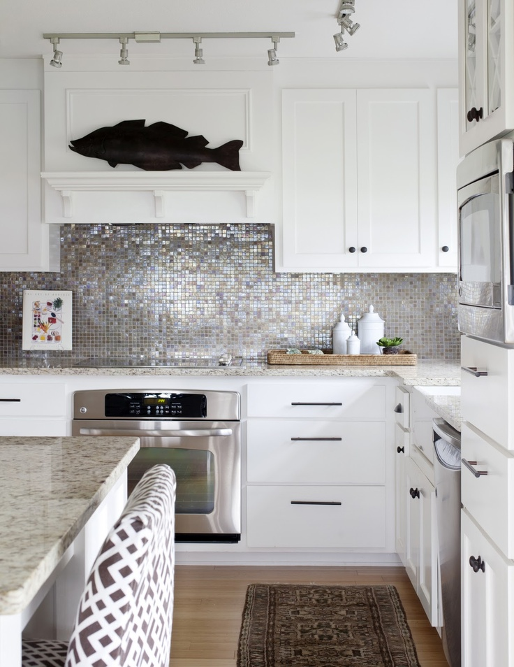 Or Silver Mosaic Tiles To Bring A Little Sha Zam Quiet White Kitchen