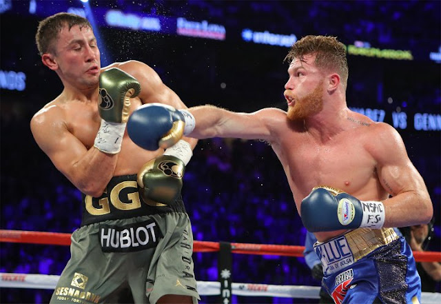 Gennady GGG Golovkin Left Canelo Alvarez right