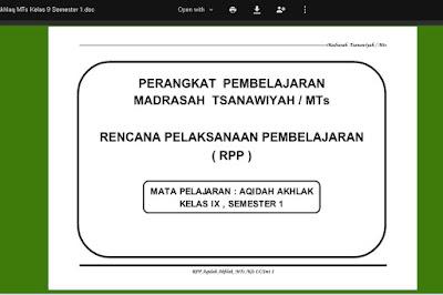 Perangkat Pembelajaran Aqidah dan Akhlak Berkarakter Tingkat MTs Kelas 7, 8, 9