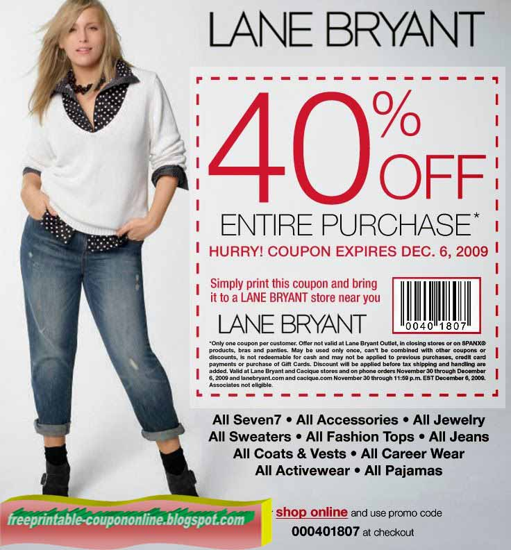 Coupon cabin lane bryant