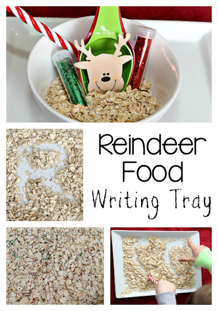 Make magical reindeer food and work on literacy by creating this Christmas writing tray for kids! Perfect for preschool and kindergarten.