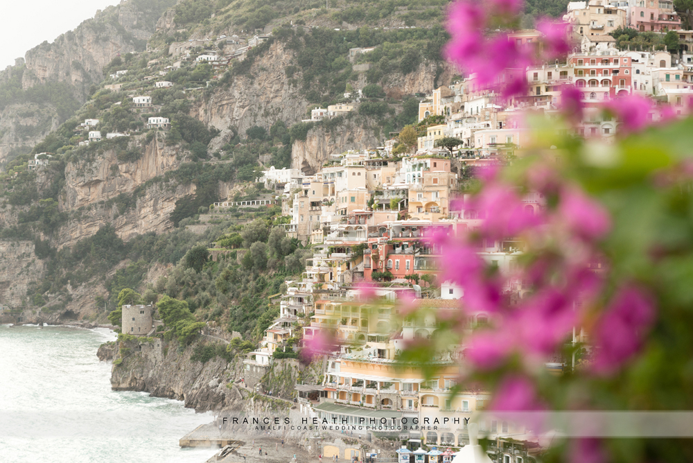 Positano view with bougainvillea