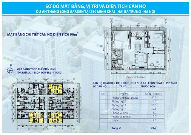 Diện tích 90m tòa A2 chung cư 250 Minh Khai Thăng Long Garden