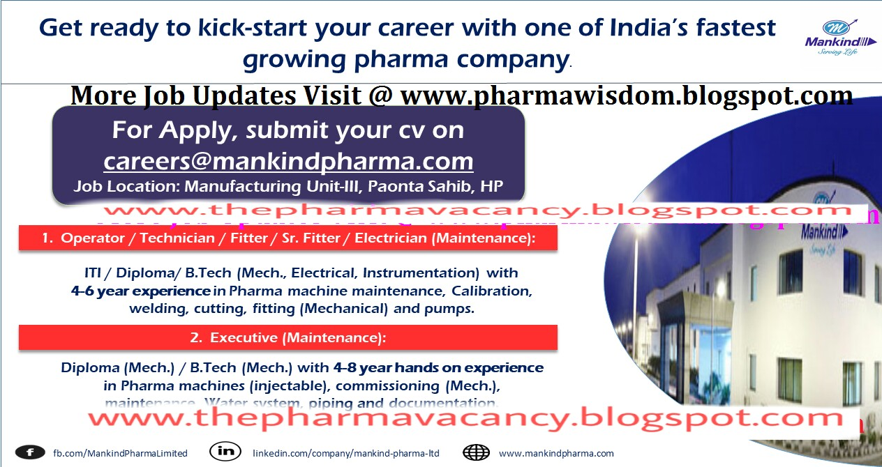 Mankind Pharma - Urgent Multiple Positions in Maintenance Department