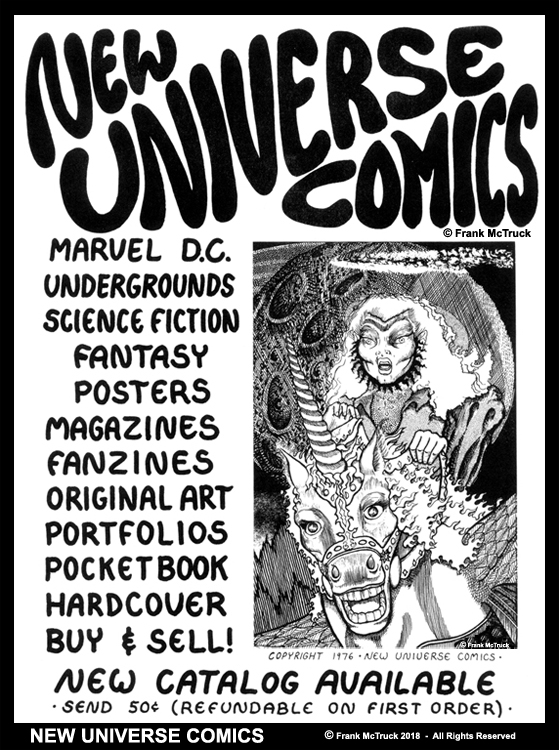 Frank McTruck 1976 ad for 'New Universe Comics'
