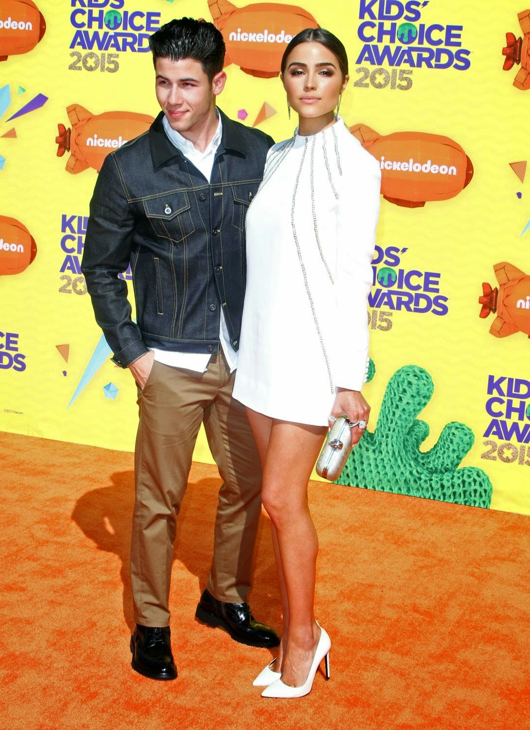 Nick Jonas and girlfriend Olivia Culpo at The 28th Annual Kid's Choice Awards