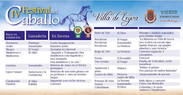 Programación festival del caballo de Villa de Leyva 2017