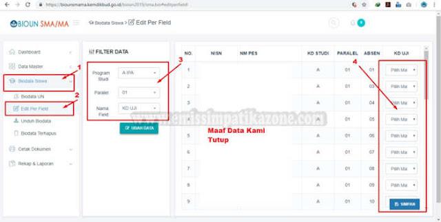 Cara Edit Mapel Di BIOUN SMA / MA / SMK Terbaru