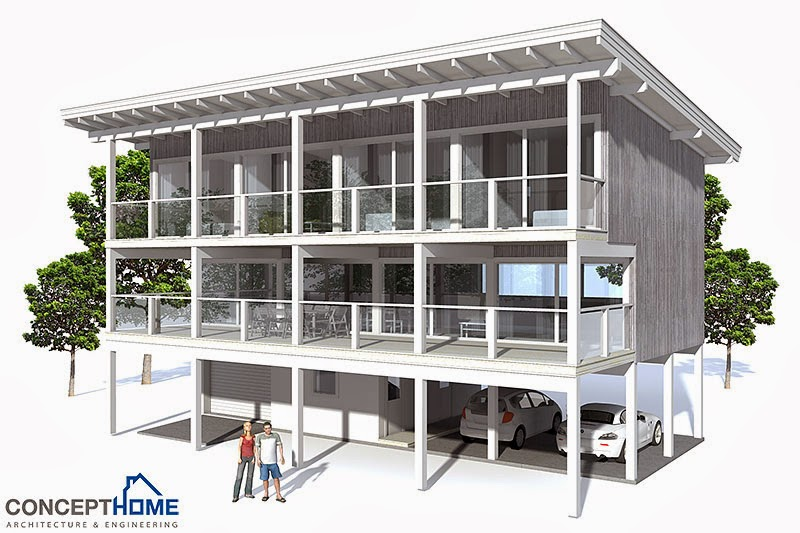 Ch98 raised beach house plan beach house plans for Elevated beach house