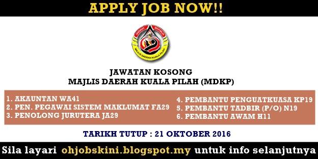 Jawatan Kosong Majlis Daerah Kuala Pilah (MDKP)