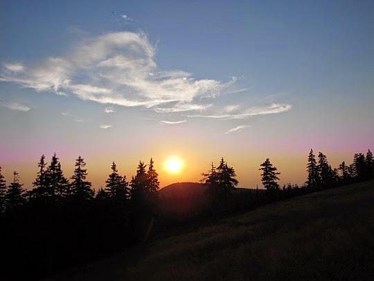 Zachód słońca z Hali pod Śnieżnikiem.