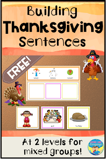 Build Thanksgiving Sentences in mixed groups with this free download.