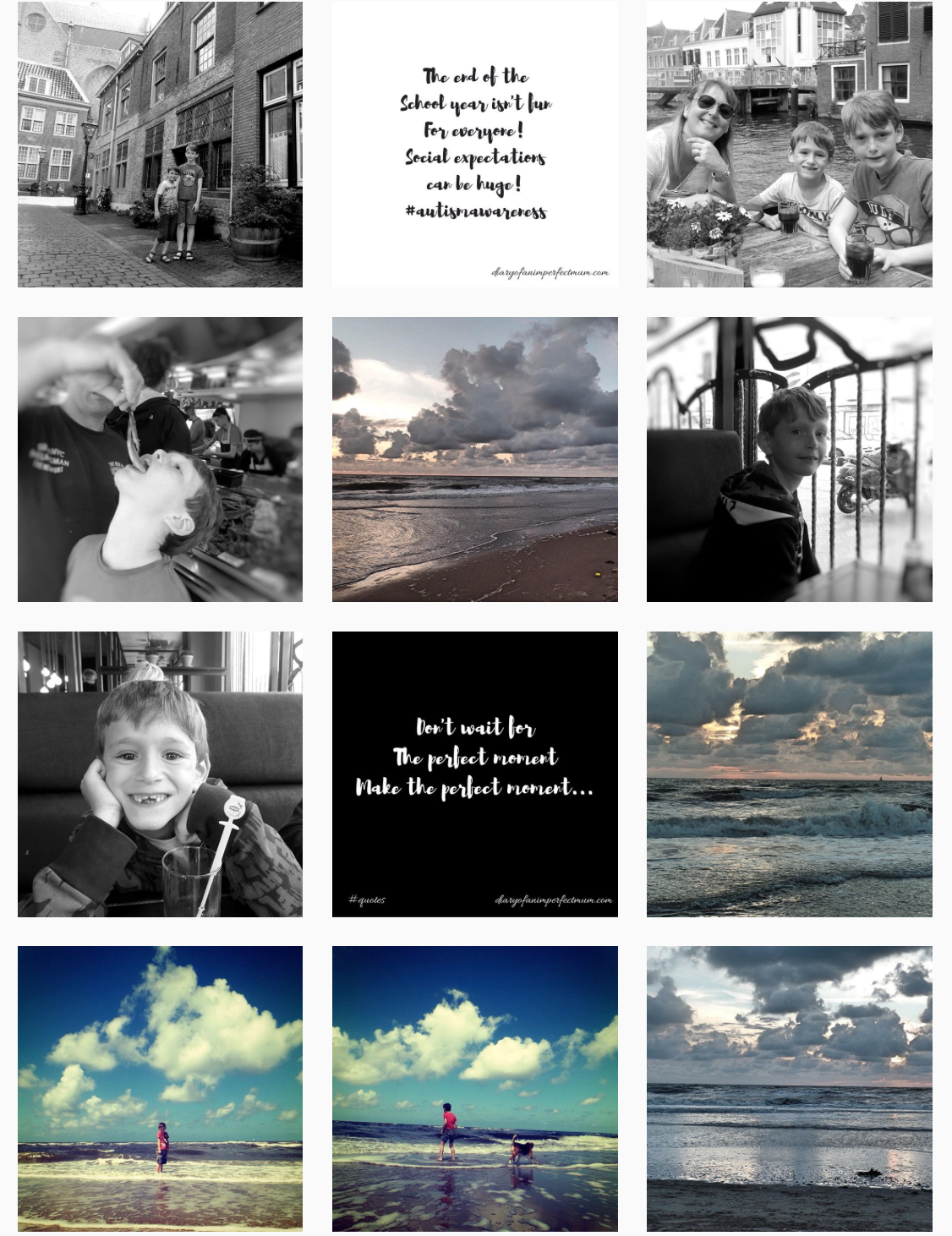 A collage of photos including a day out in leiden, sunset and son in the water at the beach