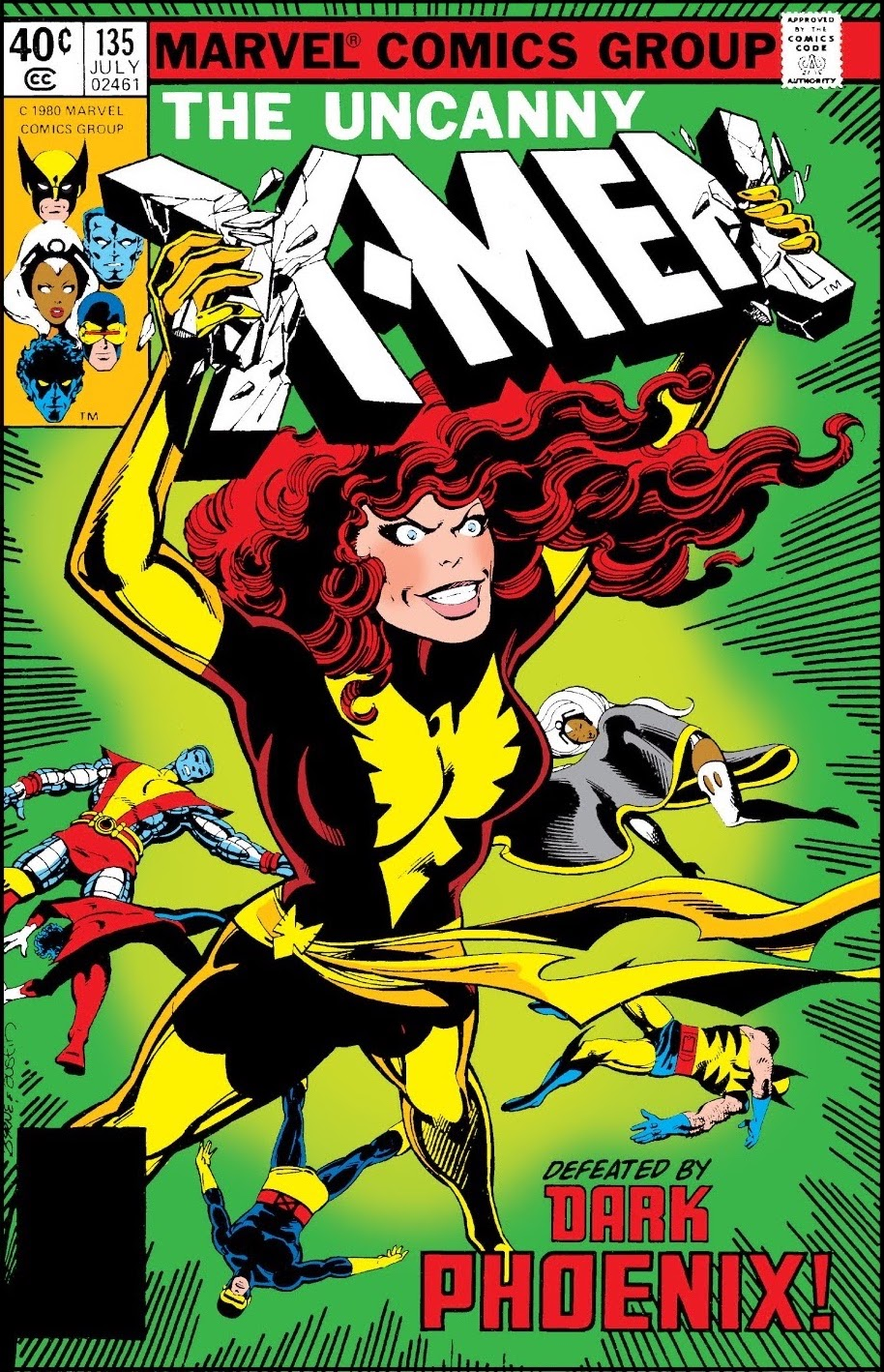 Giant figure of Dark Phoenix crushing the 'X-Men' logo in her hands as teammates lie defeated