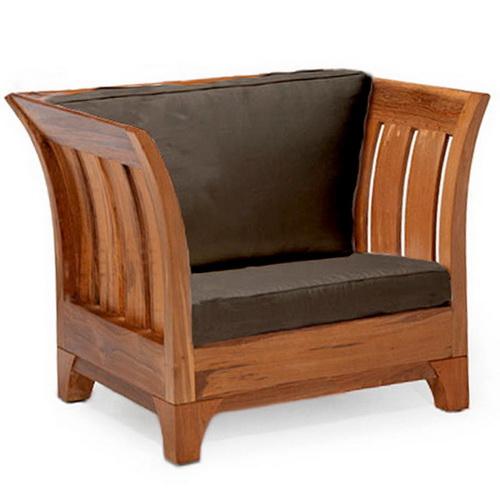 Natural teak wood sofa with brown finishing and natural fiber origin Jepara