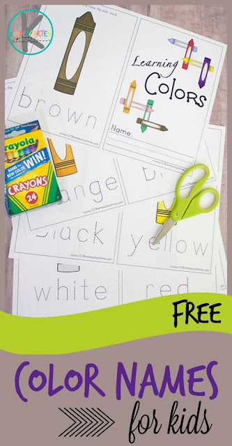 Color Words - free printable to help kindergarten, preschool, prek, and toddler learn color names. (Color words activities, color words worksheets)