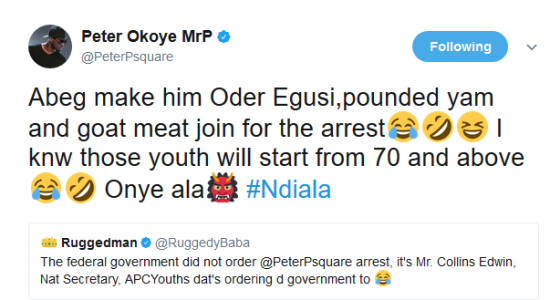 Peter Okoye Mocks APC Youths Call For His Arrest, Calls Them 'Ndi Ala'