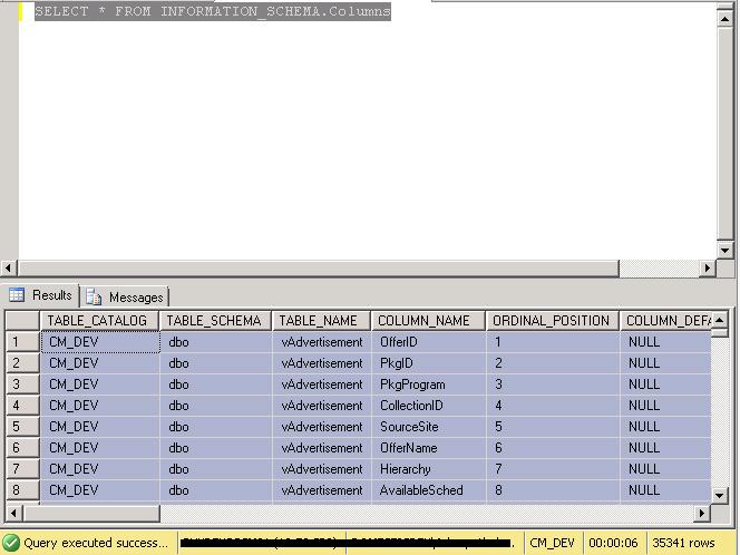 Digging SCCM SQL Database : SCCM Database Tables and Columns