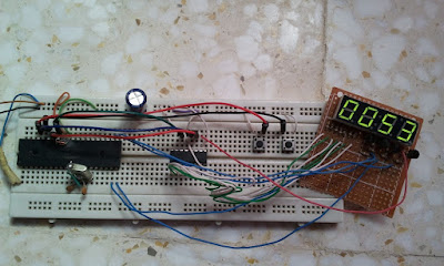 Digital up/down counter using 7 segment display with multiplexing and 74HC595 and PIC16F877A circuit