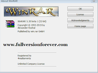 free WinRAR v5.30 full version with key for Windows