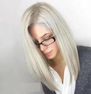 Cute Long Platinum Bob