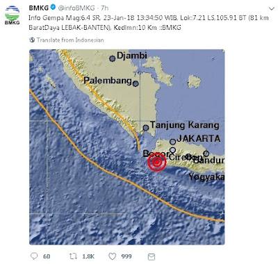 Statistik Gempa di Lebak, Banten - Blog Mas Hendra